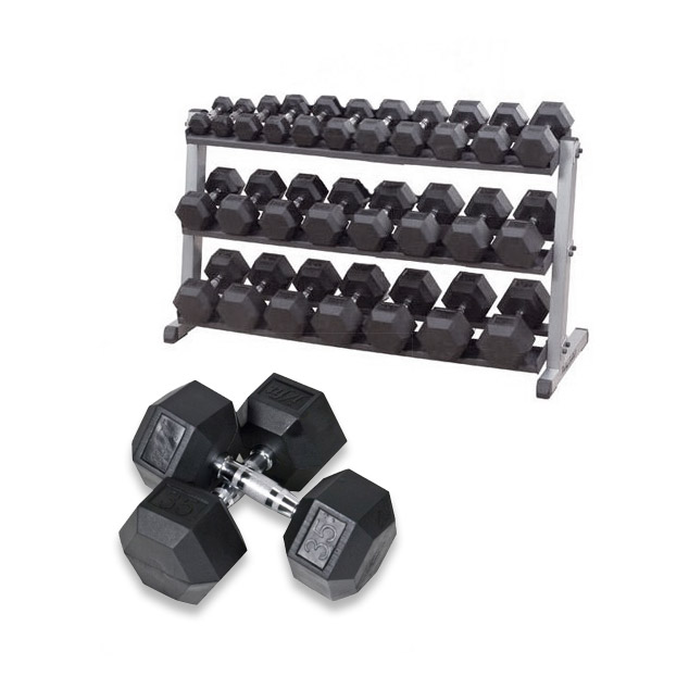 Bodysolid Pack haltères 12 kg à 30 kg avec Rack