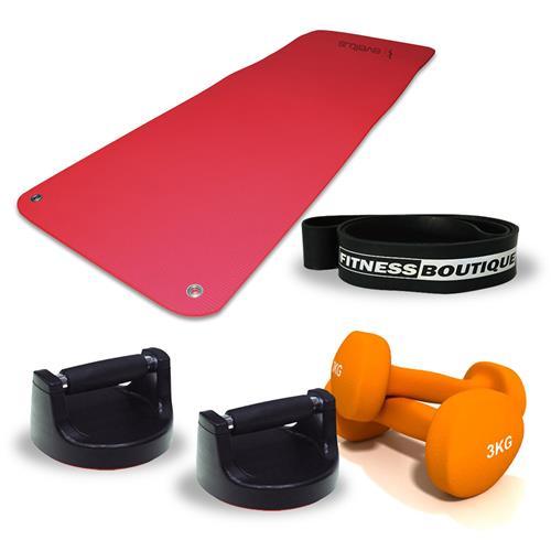 elastique-bande-resistance Fitnessboutique Pack Elastiband, Paires d'haltères 3 kg, Tapis de sol et Push up